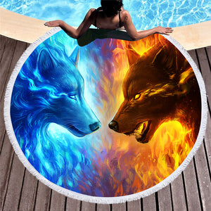 Fire And Ice by JoJoesArt  Round Beach Towel