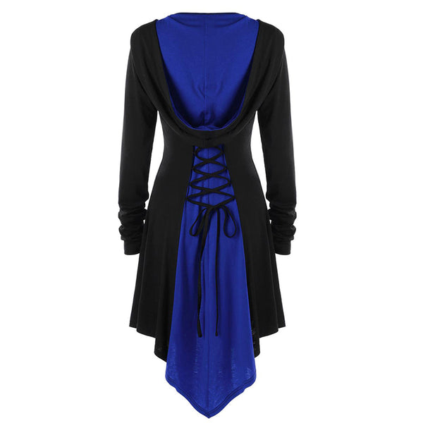 Asymmetrical Lace Up Gothic Hooded Jacket