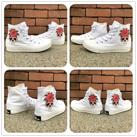 Wen's  Women's Skull Rose Canvas Sneakers