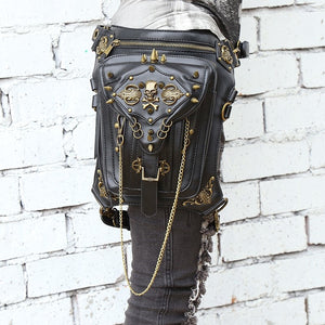 Steam Punk Skull Gothic Waist Leg Purse Bag