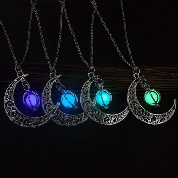 Luminous Stone Moon Charm Necklace