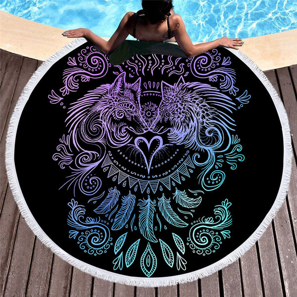 Wolves Heart By Sunima Art  Round Beach Towel
