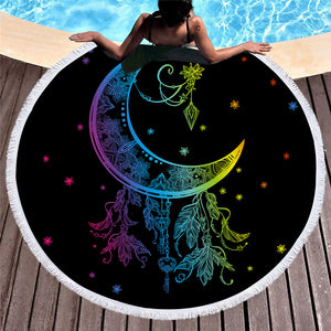 Colorful Dream Moon 150cm Round Beach Towel