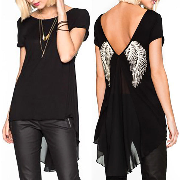 Angel Wings Unique Back Print Short Sleeve TShirt