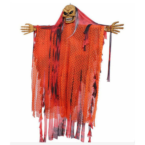 Halloween Orange Sound Control Hanging Skeleton Ghost 150cm