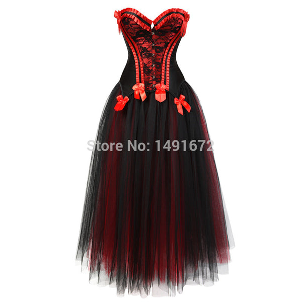 Renaissance Charmain Womens Corset Bustier Victorian Dress with Skirt