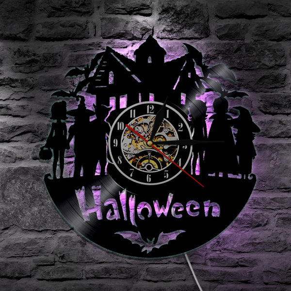 7 Color 3D LED All Hallows Eve Wall Clock