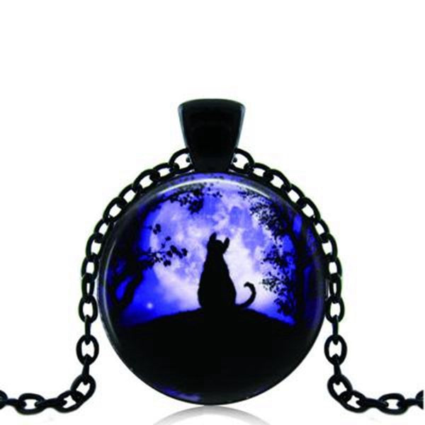 Dark Moon Kitty  Necklace Pendant