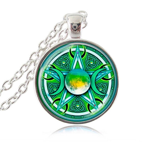 Triple Moon Goddess Pendant Necklace
