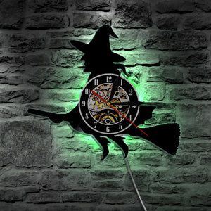 LED Flying Witch Wall Clock