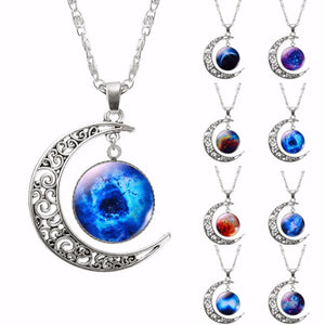 Galaxy Moon Pendant Choker Necklace