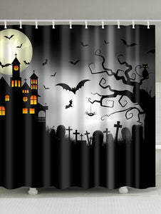Halloween Cemetery Castle & Bats Shower Curtain