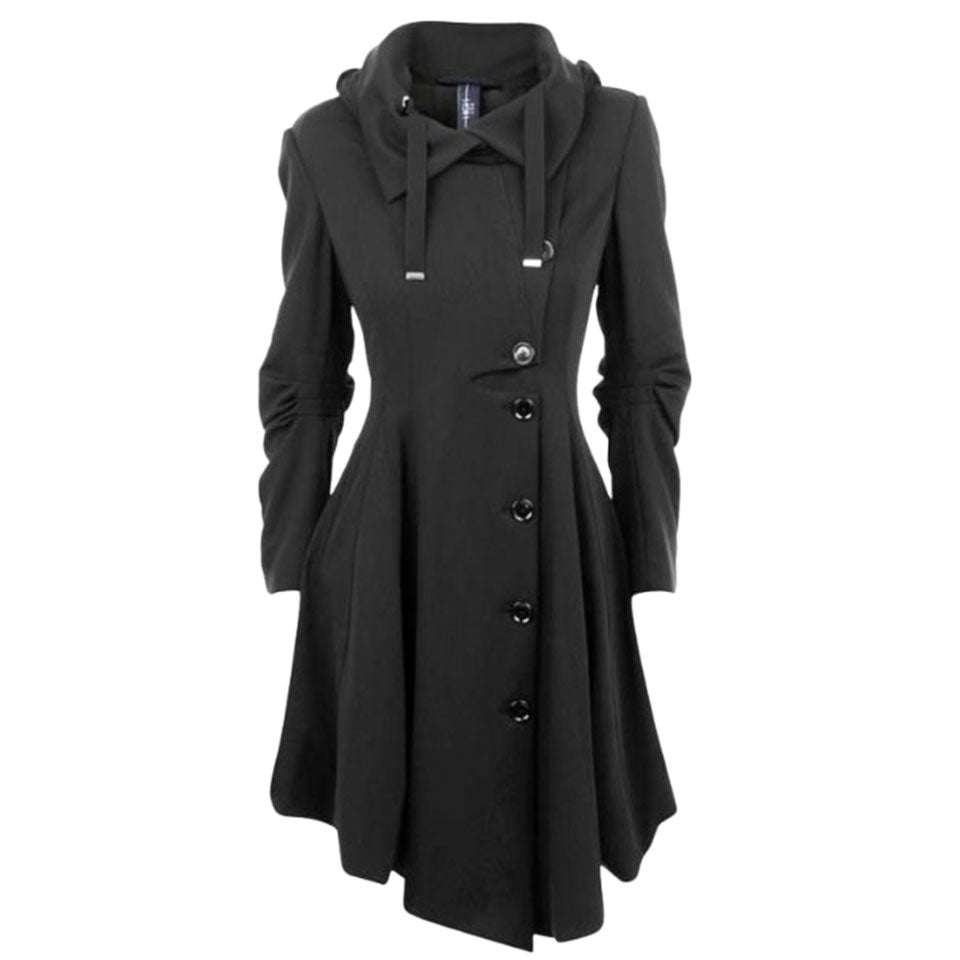 Gothic Black Long Medieval Style Trench Coat
