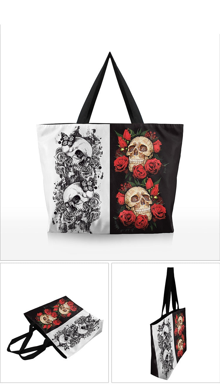 Digital Print Skull  Zip Up Handbag