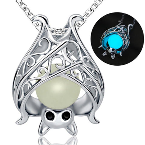 Luminous Glowing Gothic Bat Pendant Necklace
