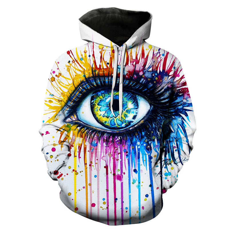 Splash Paint Eye 3D Pullover Hoodie by Pixie Cold Art