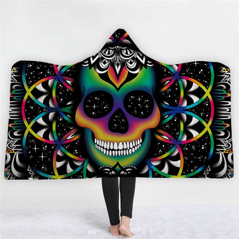 Colored Galaxy Skull Hooded Blanket