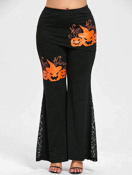 Halloween Pumpkin Lace Skirted Pants
