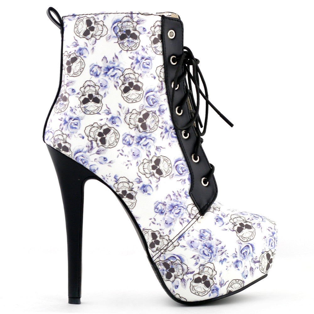 Blue Skull Lace Up Gothic Ankle Heel Boots