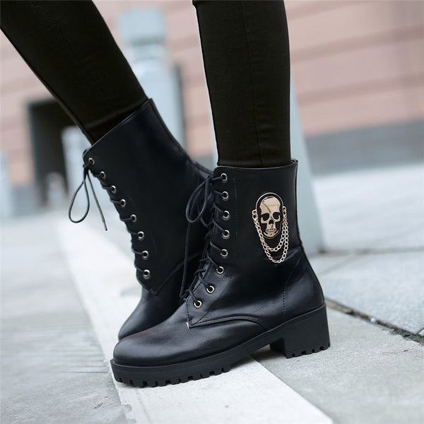 Skull Lace Up Ankle Women Gothic Boots
