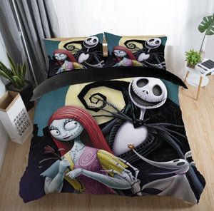 Copy of 2-3pcs 3D Nightmare Before Christmas Jack & Sally Art Bedding