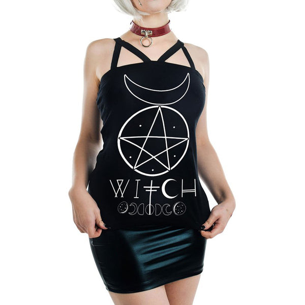 Moon Pentagram Print Backless Tank Top