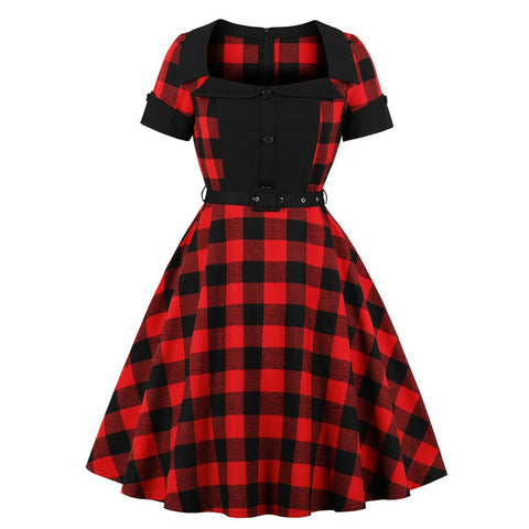 Gothic Vintage Style Plaid Dress