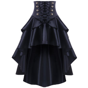 Gothic Lace Up Waist Ruffles Corset Skirt