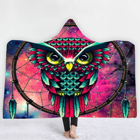 Owl Dream Catcher Hooded Blanket