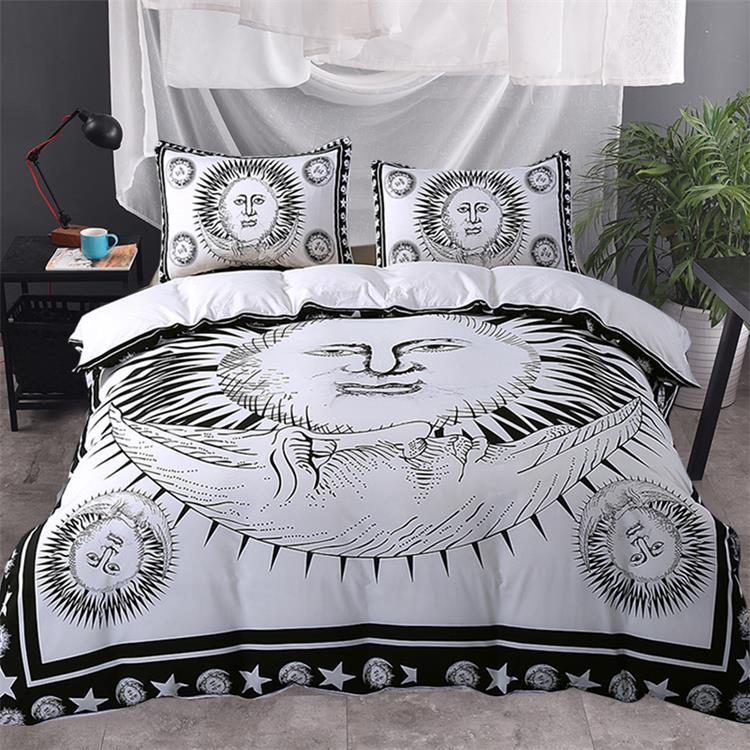 3pcs Sun God Moon Black and White Bedding Set