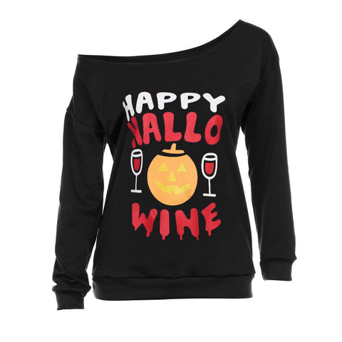 Happy Halloween Wine Long Sleeve Off Shoulder Shirt