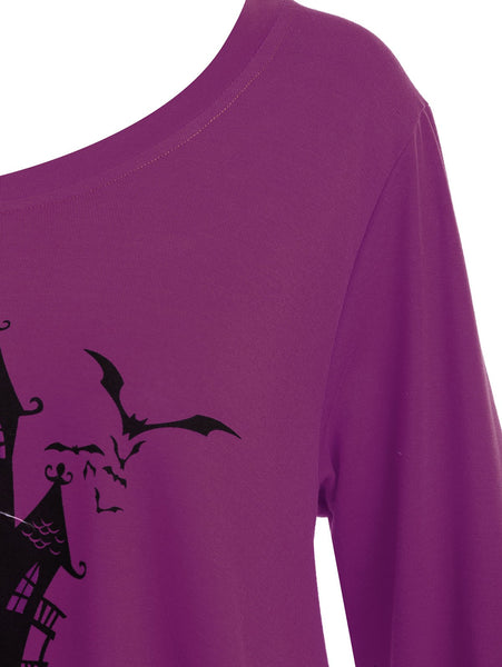 Happy Halloween Long Asymmetric T-shirt