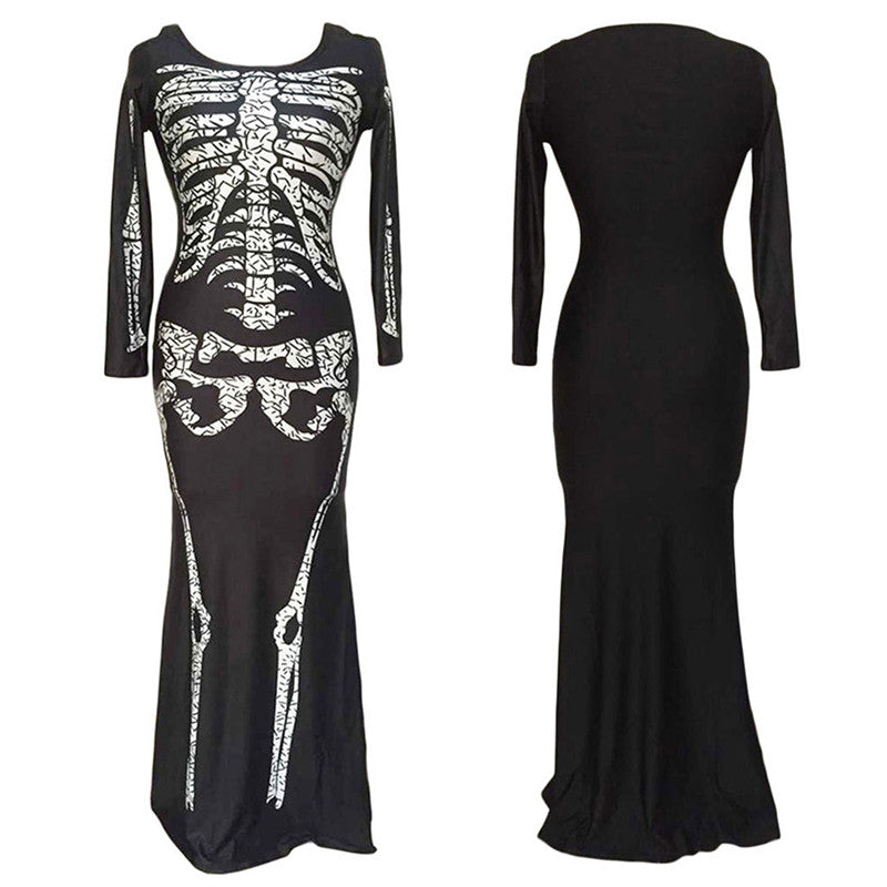 Punk Skeleton Skull Print O-Neck Full Sleeve Slim Dress