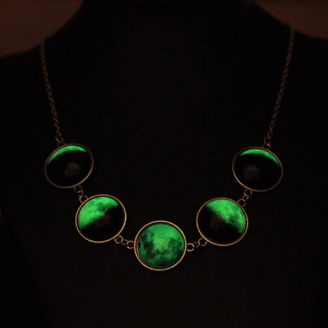 Luminous Dome Cabochon Glow In The  Dark Lunar Moon Phase Necklace