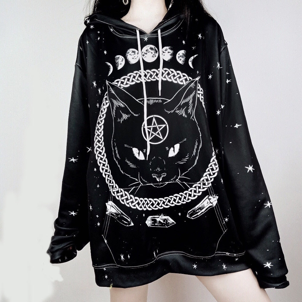 Moon Phase Cat Black Hooded Sweatshirt