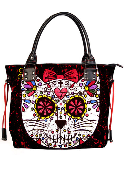 Sugar Skull Kitty Cat Candy Rockabilly Gothic Punk Shoulder Bag
