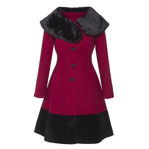 Gothic Skirt Coat Vintage Burgundy Jacket