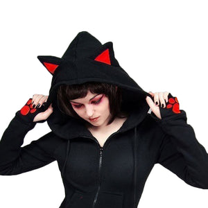 Long Sleeve Cat Ears Hooded Sweatshirt
