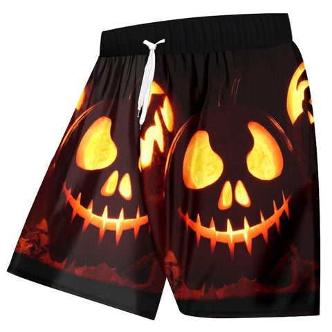 Men 3D Printed Halloween Pumpkin Swim Beach Shorts