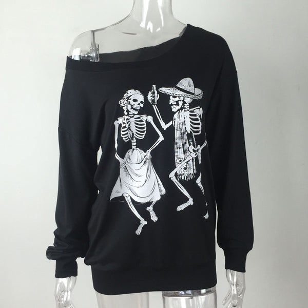 Off The Shoulder Skeleton Dance Long Sleeve Top