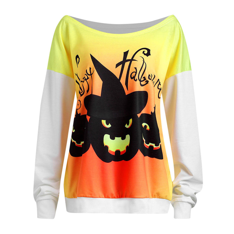 Women's Halloween Pumpkin Print Blouse