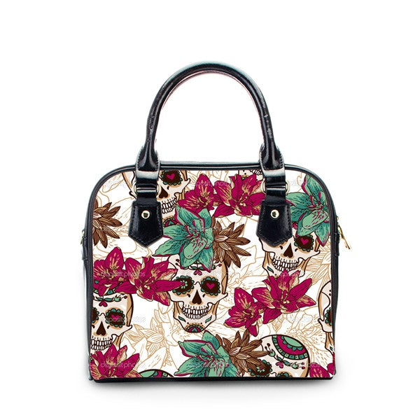 Skull Flowers Print Messenger Bag