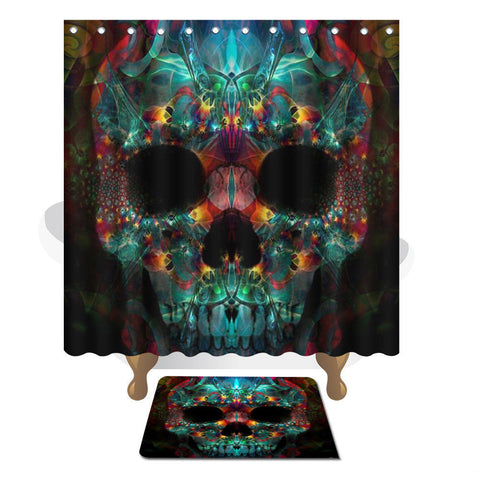 Skull Head Printed Shower Curtain & Mat Set