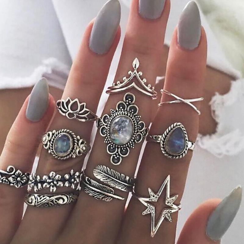 11 Pcs/Set Boho Flower Silver Rings