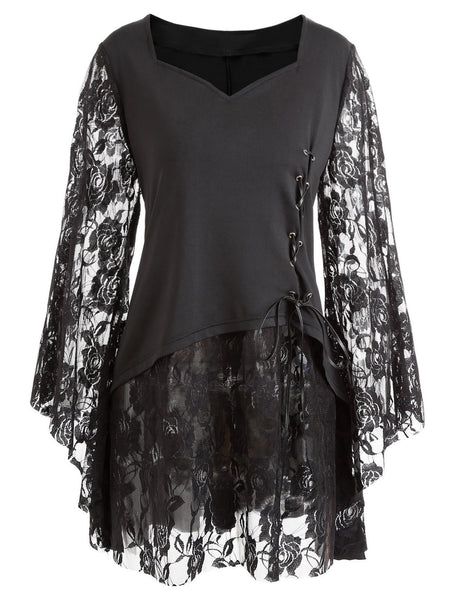 Black Lace Up Long Flare Sleeves Gothic Shirt