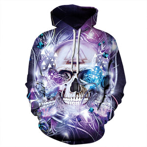 Mechanical Skull 3D Print Hooded Sweatshirt