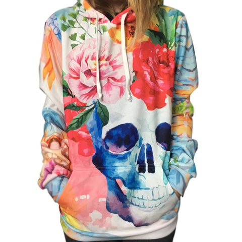 3D Printed Flowers Skull Colorful Hoodie Sweatshirt