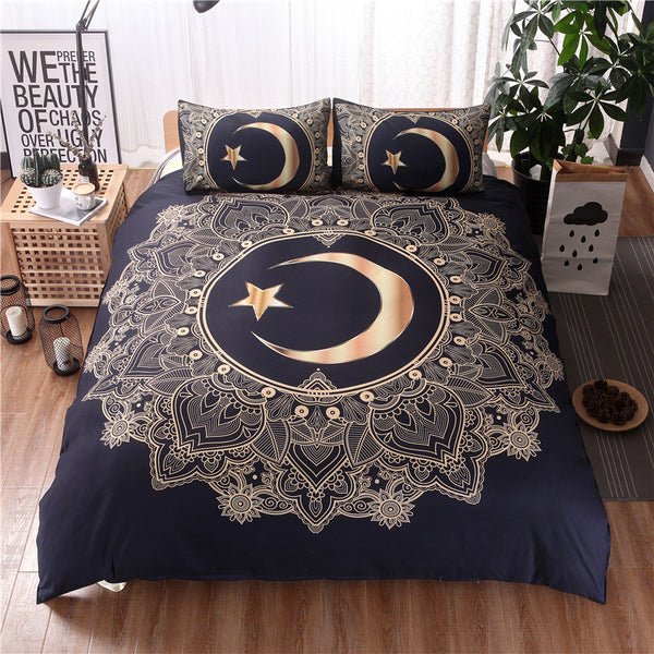 Gold and Black Mandala Crescent Moon Star 3 pc Duvet Cover Sheet Bedding Set