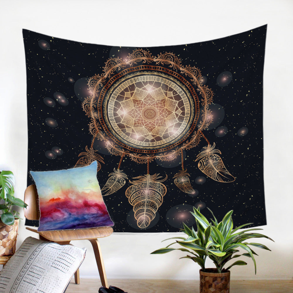Golden Print  Bohemian Galaxy Dreamcatcher  Microfiber Decorative Wall Tapestry