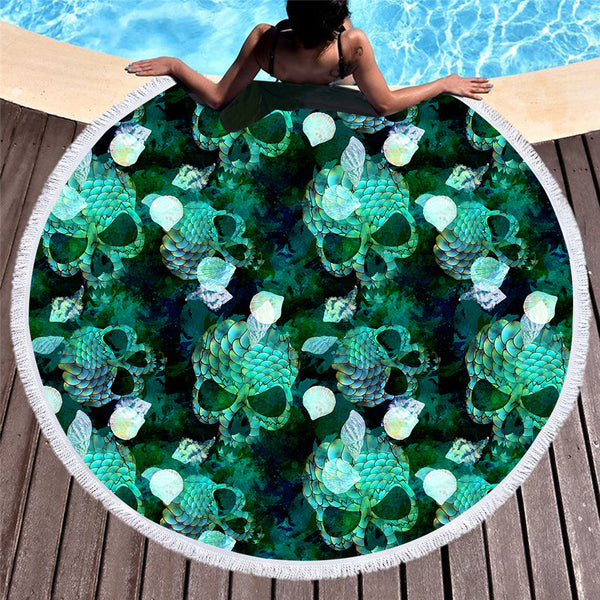 Skull Flower Round Beach Towel